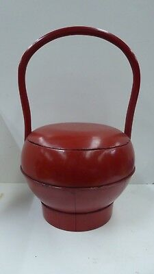 Antique Chinese Red Lacquer Wedding Basket Handle Food Carry Bowl