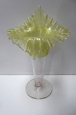 Antique Victorian Ruffled Glass Vase Applied Yellow Glass Lines Spill Vase