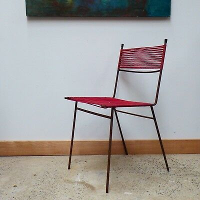 Vintage Original Mid Century Clement Meadmore Cord Chair Metal Rod Frame