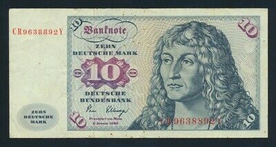 "Germany: Federal Republic 2-1-1980 10 Mark ""LAST DATE FOR TYPE"". Pick 31d Fine"