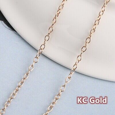 100m KC Gold Plated Cable Open Link Iron Metal Chain Jewelry Finding Making DIY