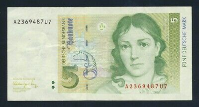 "Germany: Federal Republic 1-8-1991 5 Mark ""LAST DATE & TYPE"". Pick 37 VF Cat $10"