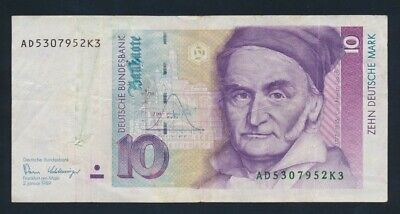 "Germany: Federal Republic 2-1-1989 10 Mark ""LAST TYPE BEFORE EURO"". Pick 38a GF"