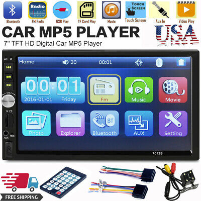 7inch DOUBLE DIN Car MP5 Player BT Tou+ch Screen Stereo Radio HD+Camera Chu