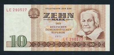 "Germany: Democratic Republic 1971 10 Mark ""WIDE SERIAL NUMBER"". Pick 28a EF"