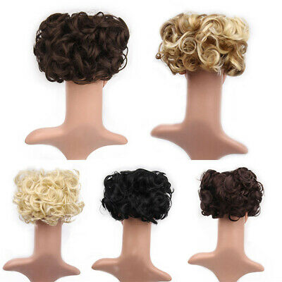 Women Curly Messy Donut Hair Bun Hair Piece Extension Comb Hairpiece Natural#