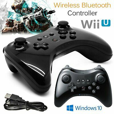 WIRELESS BLUETOOTH WiiU - Wii U Pro Controller / Pad schwarz + USB Ladekabel DE