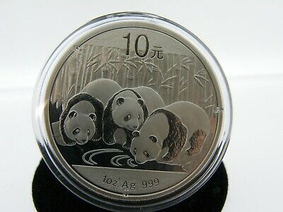 2013 Chinese Panda  1Oz .999 Ag Silver 10 Yuan Enclosed In Hard Capsule