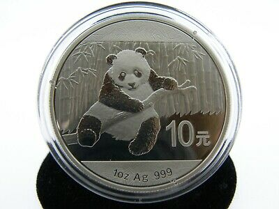 2014 Chinese Panda Rare 1Oz .999 Ag Silver 10 Yuan Enclosed In Hard Capsule