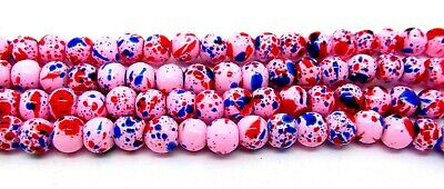 200 Pink Glass Round 4mm Beads - Splashes of Blue & Red Drawbench - P00220XD