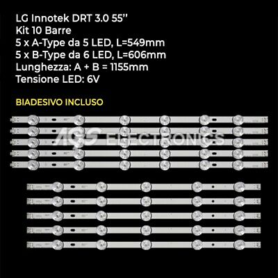 BARRE STRIP LED LG AGF78401601 AGF78401701 55LB580V 55LB630V 55LB650V 10pcs