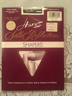 b71439e884030 Hanes Silk Reflections Shapers, Size AB, Barely Black, Control Top,  Sandalfoot