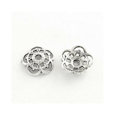 Flower Bead Caps Antique Silver Metal Alloy 10mm  100+ Pcs Findings Jewellery