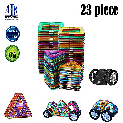 Magnetic Building Tiles Construction Blocks Educational Kids Children Color Toys