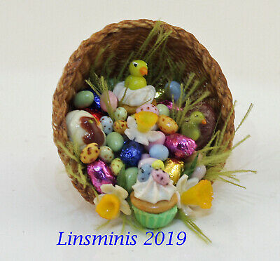 12th Scale Handmade Dollhouse Miniature *Tumbling Easter Basket*....IGMA Fellow