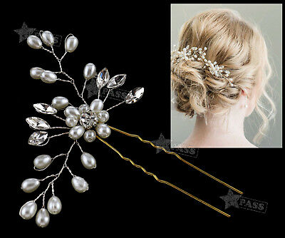 Wedding Hair Pins Bridesmaid Crystal Pearls Bridal Side Comb Clips U Shape Grips