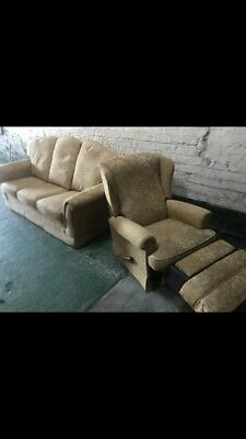 Antique vintage 3 piece settee recliner sofa & chair gold recovered imacu
