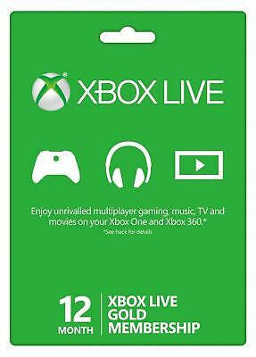 12 Month Xbox Live 1 Year Gold Membership Subscription Code- Digital Code