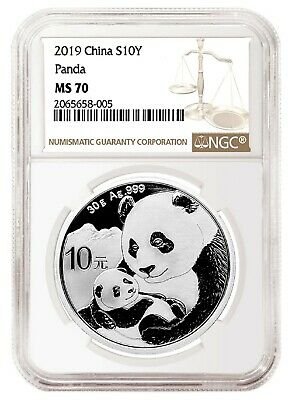 2019 China 10 Yuan Silver Panda NGC MS70 - Brown Label