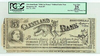 Cleveland Wild Cat Money Political Satire Note Bungtown NJ Grover Oct 21, 1892