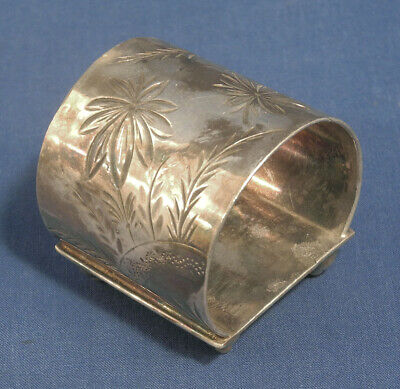 Antique Silverplated Napkin Ring Holder Aurora Co Ornate Floral Aesthetic Movemt