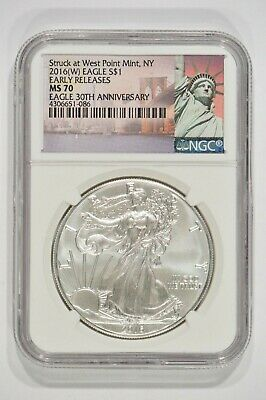 2016-(W) American Silver Eagle $1 30th Anniv NGC MS70 Early Releases 4306651-086