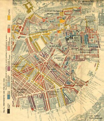 CHARLES BOOTH POVERTY MAP. Westminster Pimlico Victoria 1902 old antique