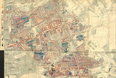 TOWER HAMLETS Booth poverty map Mile End Bow Stepney Limehouse Poplar 1902