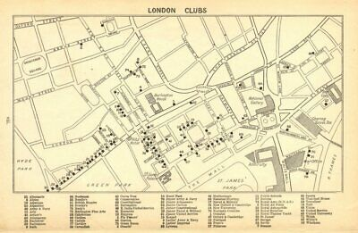 LONDON GENTLEMENS CLUBS. St James's Mayfair Piccadilly Whitehall 1925 old map