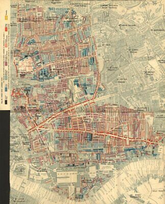 CHARLES BOOTH POVERTY MAP Wapping Whitechapel Shoreditch Bethnal Green 1902