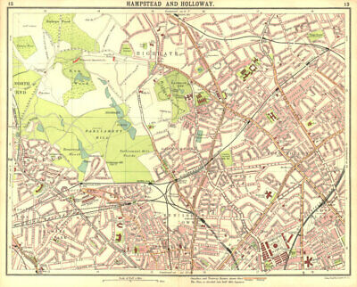 LONDON N.Hampstead Holloway Highgate Kentish Town Belsize Park Camden 1917 map