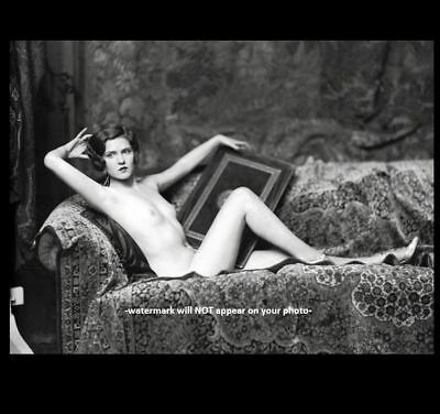 Sexy Nude Flapper Ziegfeld Girl PHOTO Art,Couch Relaxing,Breasts Pose,Johnston