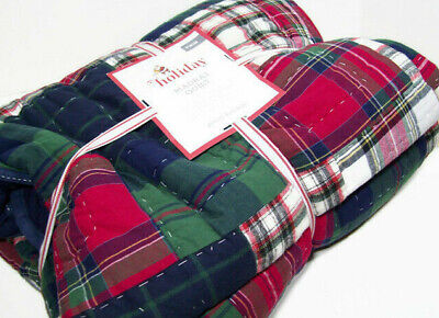 Pottery Barn Kids Multi Colors Blue Gray Red Color Blocked Stripe Twin Quilt New