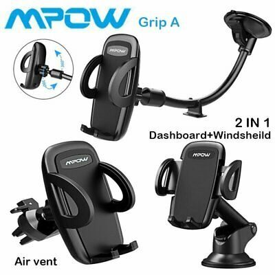 Mpow 360° Car Mobile Phone Mount Holder Stand Windshield Dashboard Air Vent Grip