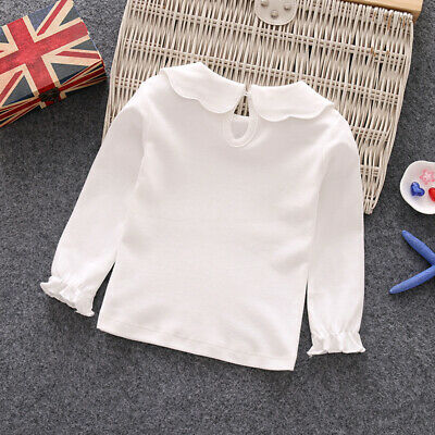 Spring T-shirt Tops Toddlers Long Sleeve White Autumn Doll Collar Party 2018
