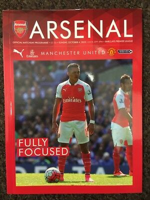 Arsenal V Manchester United Programme Barclays Premier League 4/10/15