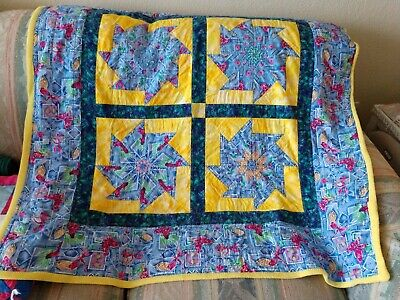 Beautiful Handmade 2 sided Quilted/Flannel Baby Toddler Quilt Signed GUC