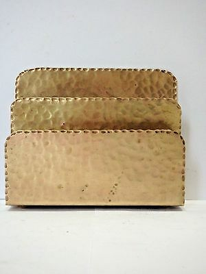ARTS & CRAFTS HAMMERED BRASS Mission LETTER HOLDER Early 1900s Not Signed