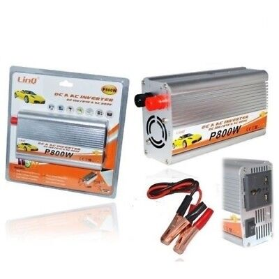 Inverter Di Potenza 800 Watt 12v 220v Convertitore Tasto On Off Linq P800w