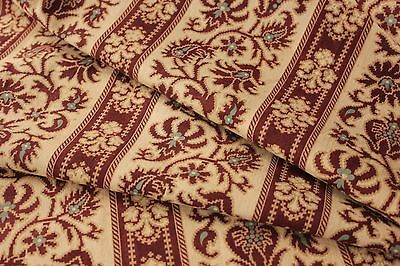 Antique French fabric material c1870 Prussian blue madder brown cotton