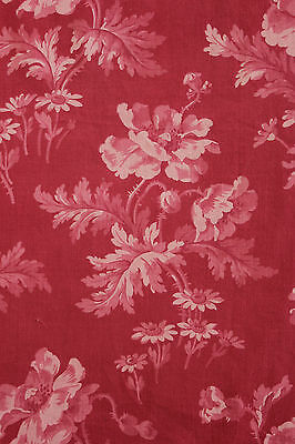Antique French Fabric red ground block & resist printed cotton c1880 Art Nouveau