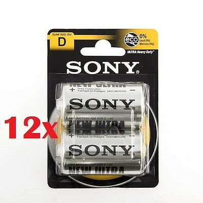 Confezione 24 Pile Batterie Sony New Ultra D Sum1 R20 1.5V Torce hsb