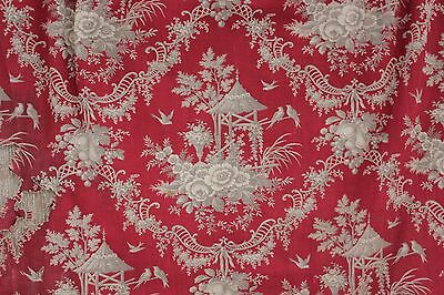 Fabric Antique Rococo French red printed c 1870 gray toile Chinoiserie design