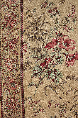 Antique French Fabric block printed chintz glazed printed w/ border textile 1820
