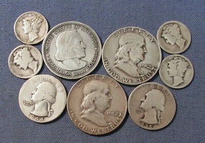 Lot 9 Us Silver Coins As Is Scrap Or Better 1893 Columbian Half Dollar Etc