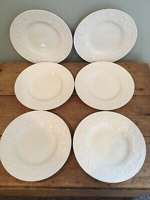 Vintage Wedgwood England Patrician Embossed Creme Set Of 6 Dinner Plates 10 5/8""