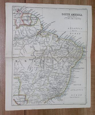 1888 Original Antique Map Of Brazil Guyana / South America