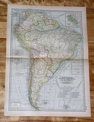 1914 Antique Dated Map Of South America / Argentina Chile Colombia Peru Brazil