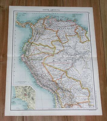 1903 Original Antique Map Of Colombia Ecuador Peru / South America