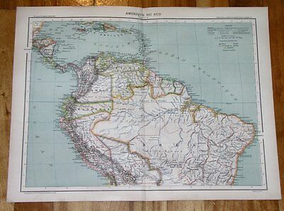 1889 Original Antique Of Brazil Colombia Peru Ecuador / South America